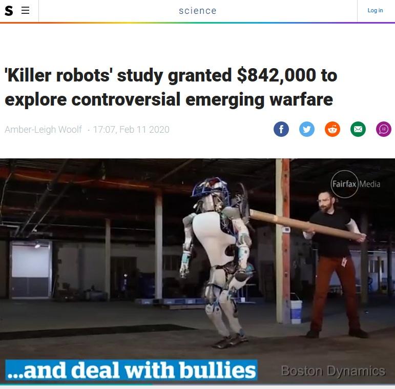 """Killer robots"" study granted $842,000 to explore controversial emerging warfare"