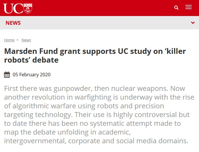 Marsden Fund grant supports UC study on 'killer robots' debate
